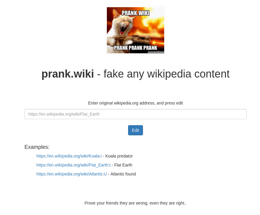 Prank.wiki start screen