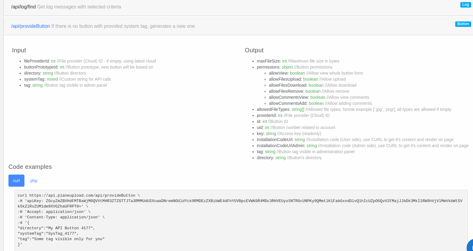 PlaneUpload API example